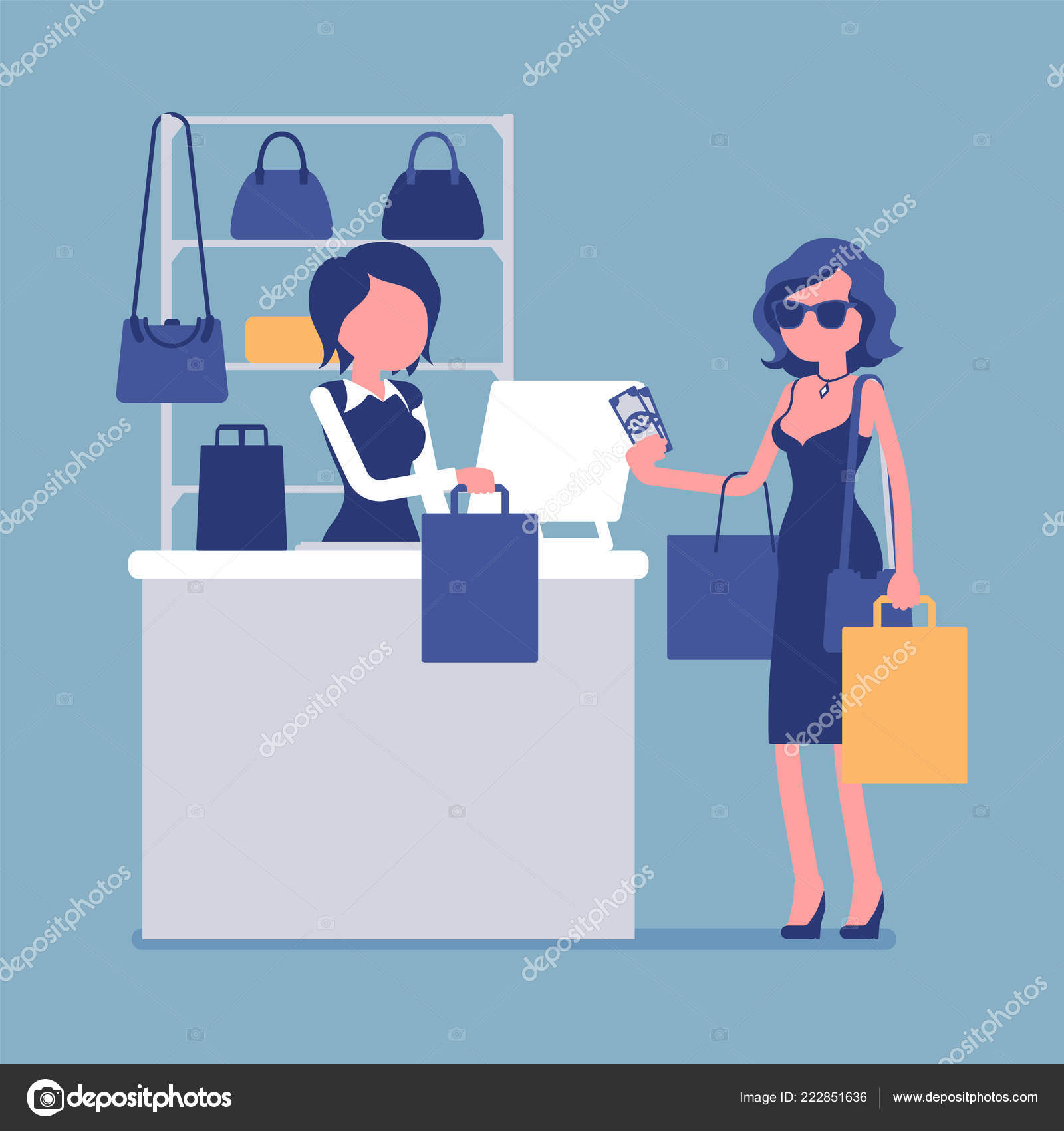 c072b02c6c5 Woman paying with cash at handbags department — Stock Vector ...