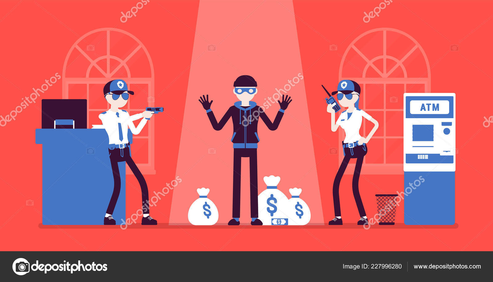 ea8ccc17c0c Bank robber caught by police — Stock Vector © Andrew Rybalko  227996280