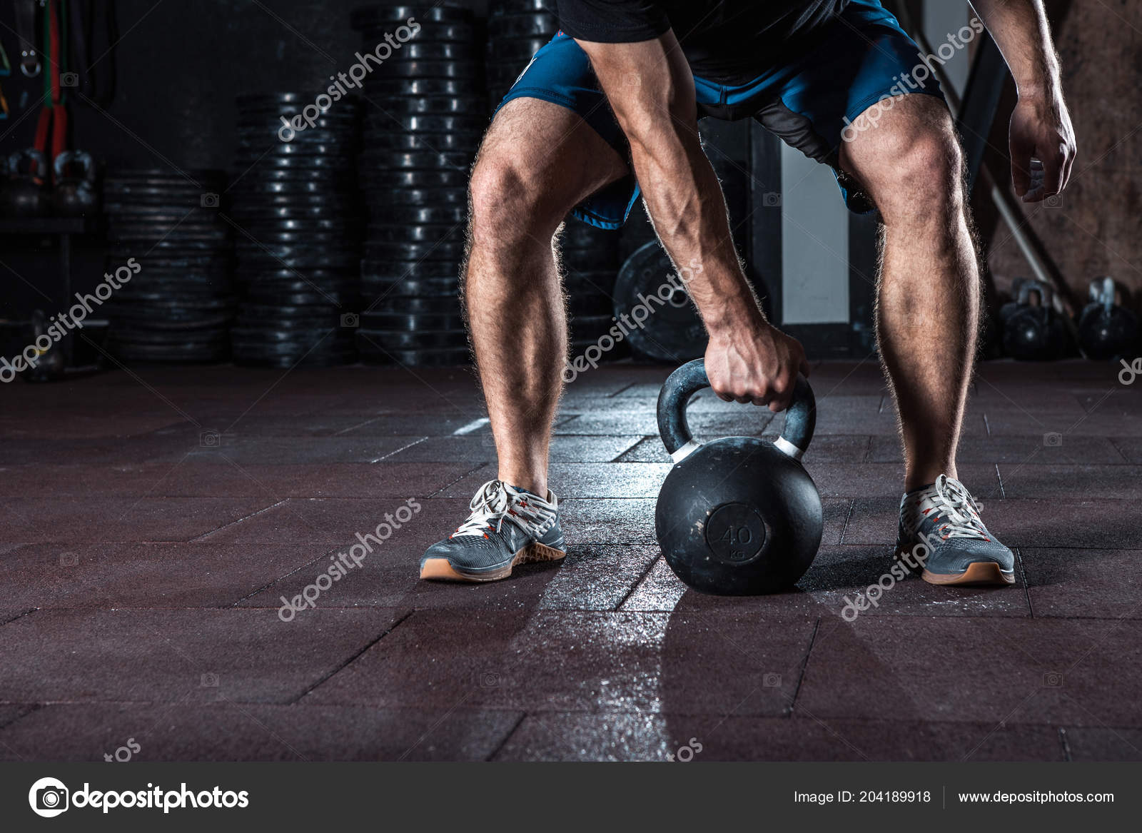 Crossfit Kettlebell Training Gym Athlete Doing Workout Workouts For Beginners Wod Stock Photo