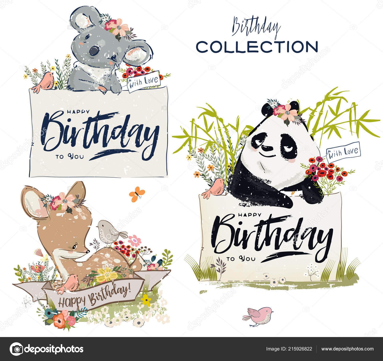Sammlung Mit Niedlichen Geburtstag Tiere Mit Blumen Stockvektor