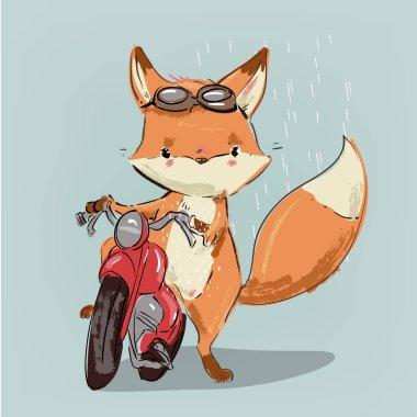 cute fox on bike