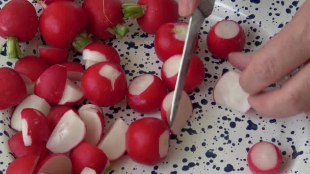 Fresh sliced radishes ready for cooking