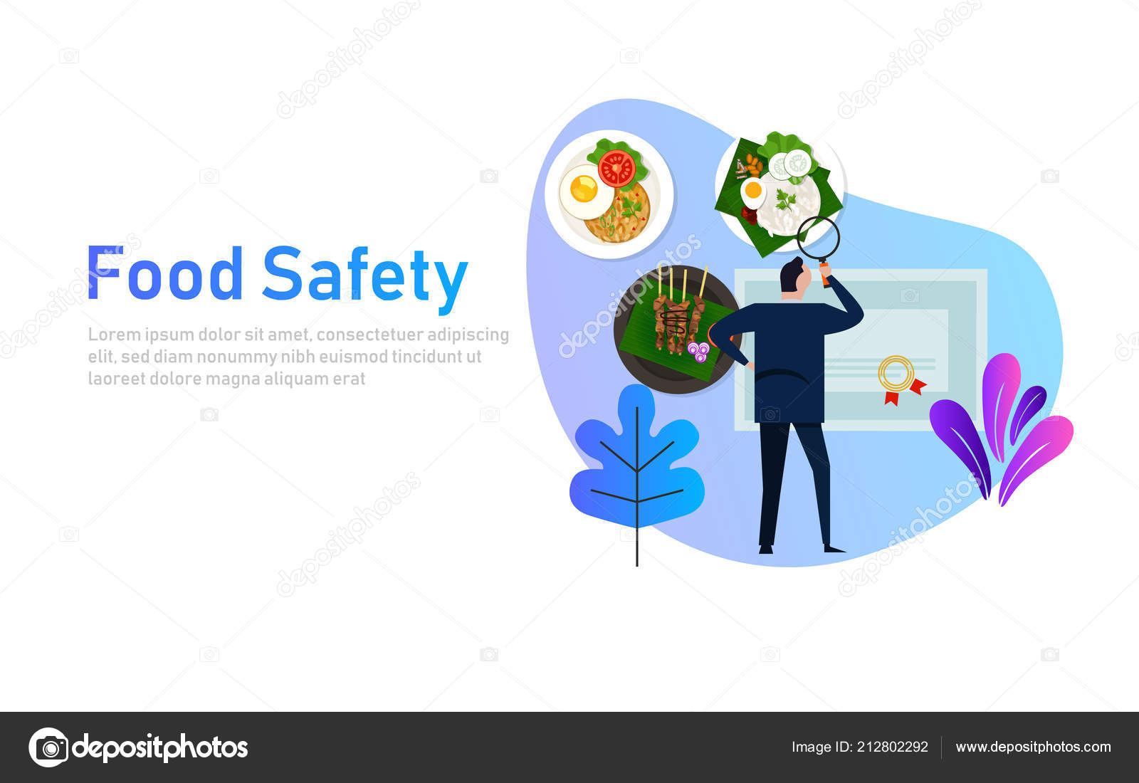 Food safety concept of standard compliance  Man looking at
