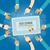 ISO 22000 - food safety management, concept of standard compliance certificate