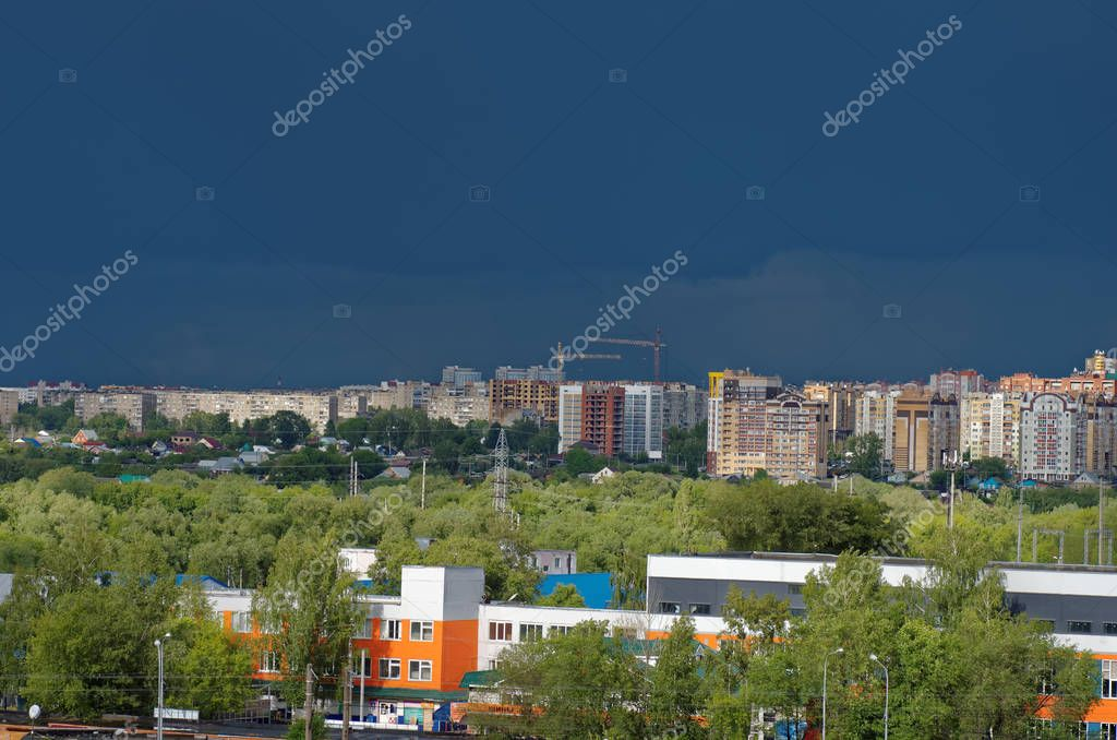 SARANSK, RUSSIA - JUNE 06, 2018: Clouds over city.