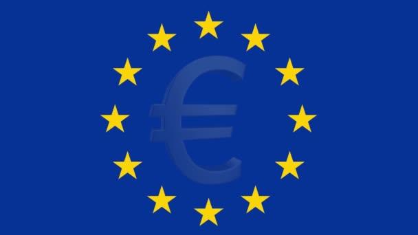 Abstract EU economy concept. Euro sign with EU flag. 3D render.