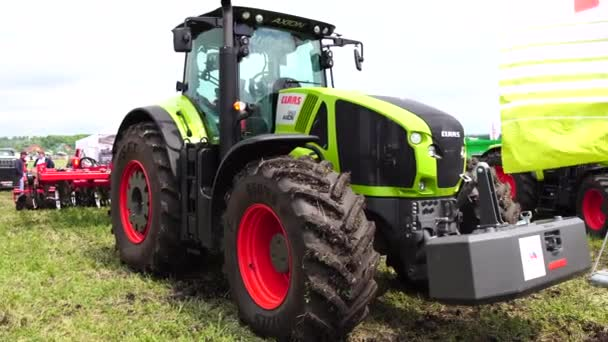 Goryainovka, Mordovia, Russia - June 28, 2019: A CLAAS Axion 950 tractor at the public event Russian Plowing Championship.