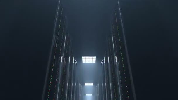 Bewegung durch dunkle Server Raum Datacenter, Schleife