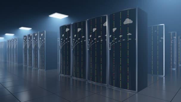 Serverraum in Datastore mit Wolken Reflexion