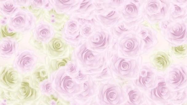 Krásné velmi měkké bezešvé smyčka 3d animace jako intro pro svatba, Valentýn nebo vzpomínky video. Na tomto záběru mnoho růžové a bílé růže poupata, bezešvé smyčka pozadí