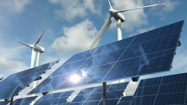 Druhy ekologické čisté energie se solárními panely články a smyčkou větrných turbín