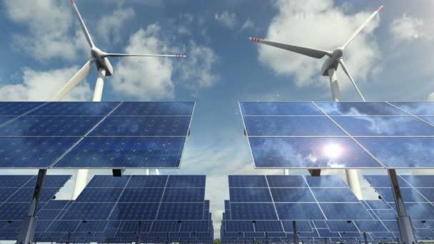 Napelemek cellák a szélenergia generátorok háttér hurok