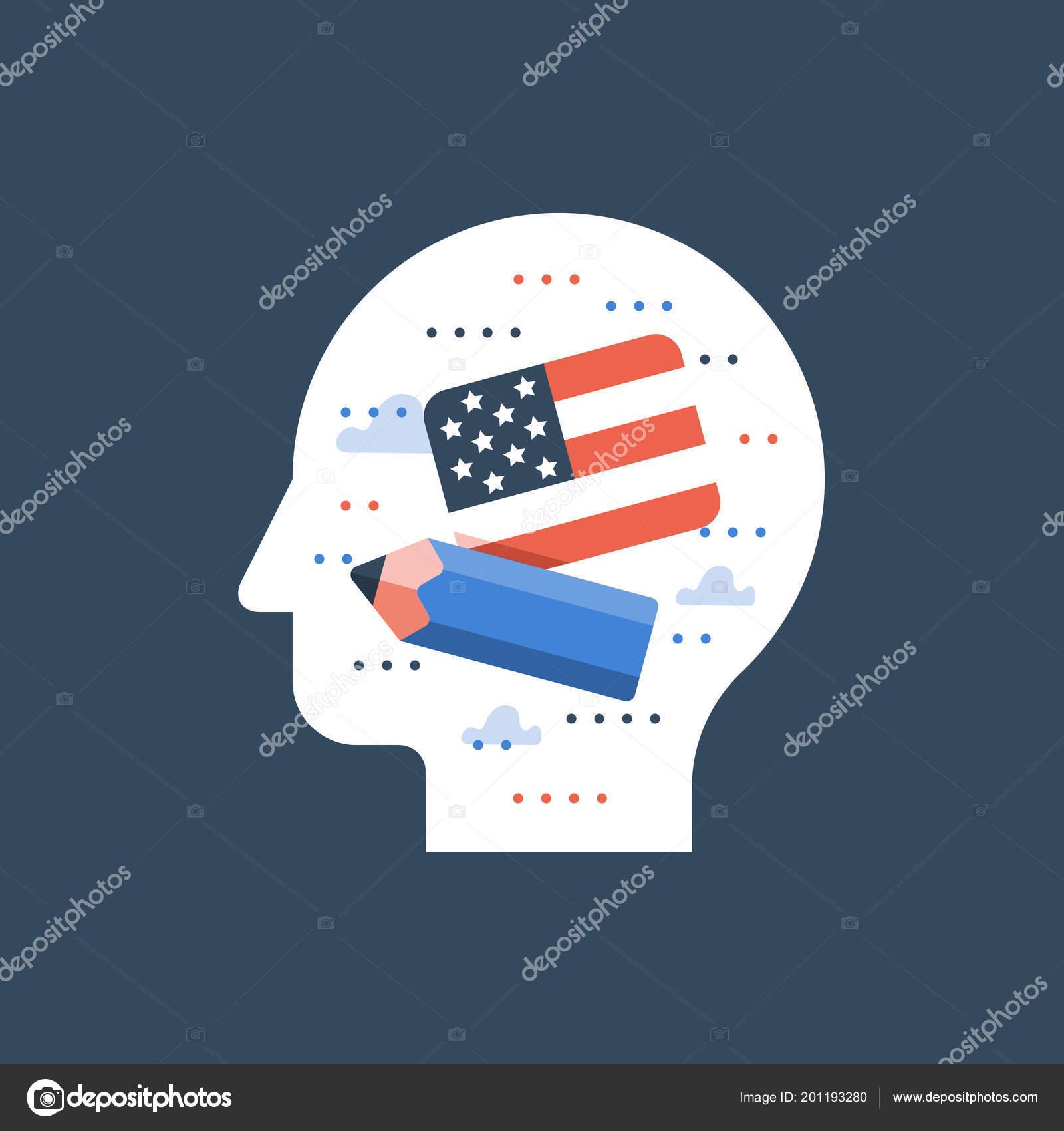 American Flag And Pencil Learn English Education Program