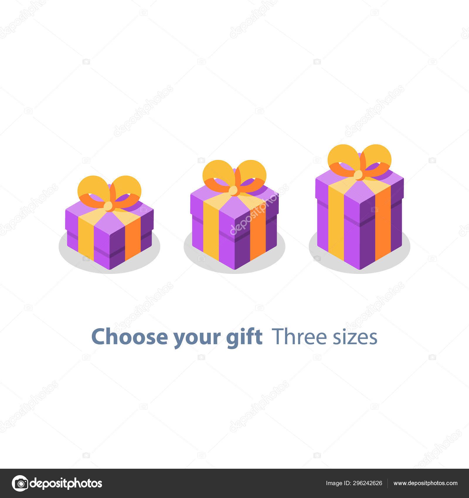 La Boite Jaune Prix trois tailles de cadeau, boîte pourpre, ruban jaune, cadeau
