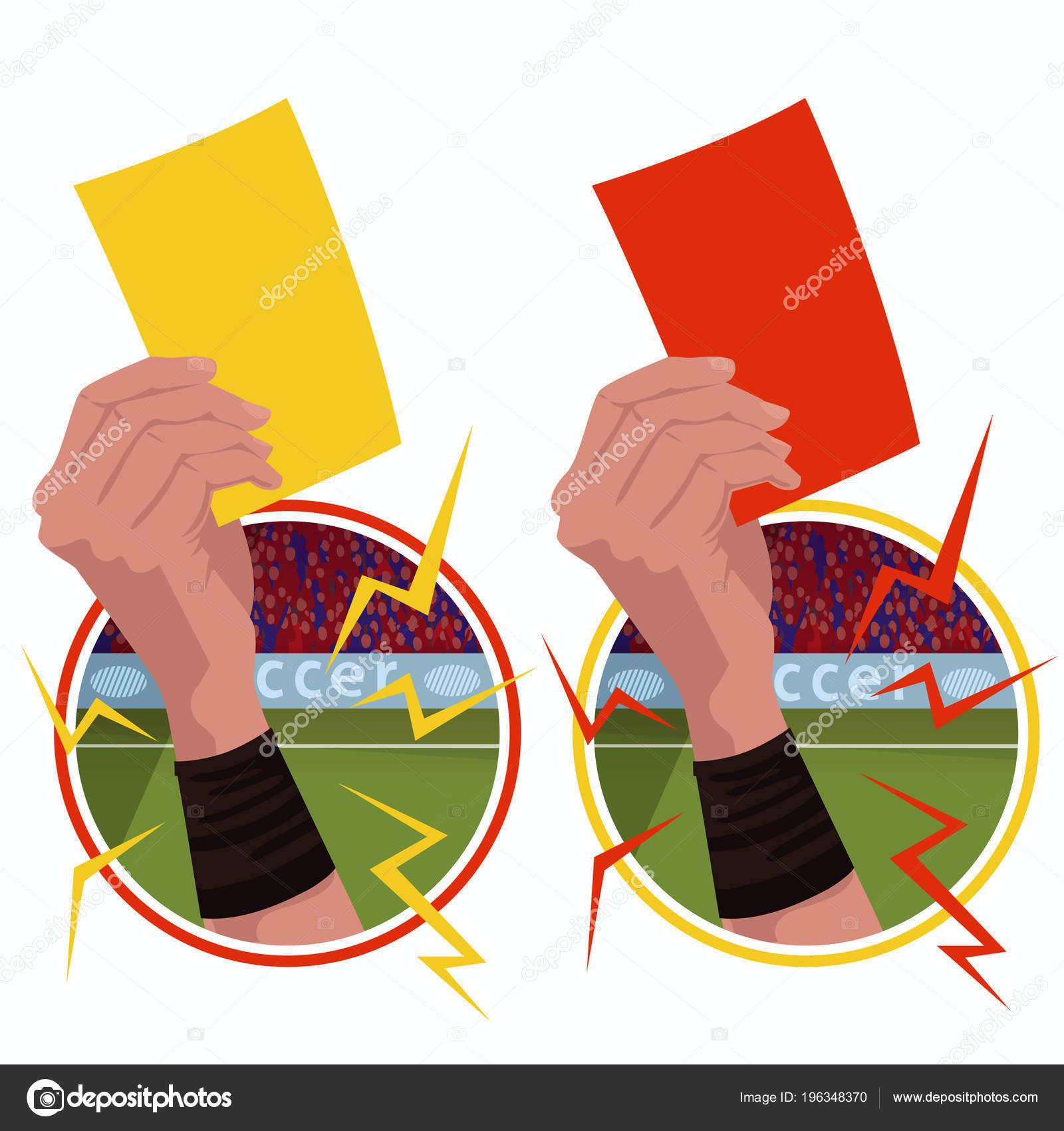 Aufkleber Hande Halt Gelb Rote Karte Stockvektor
