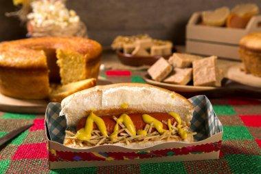 Hot dog. Table of brazilian festa junina.