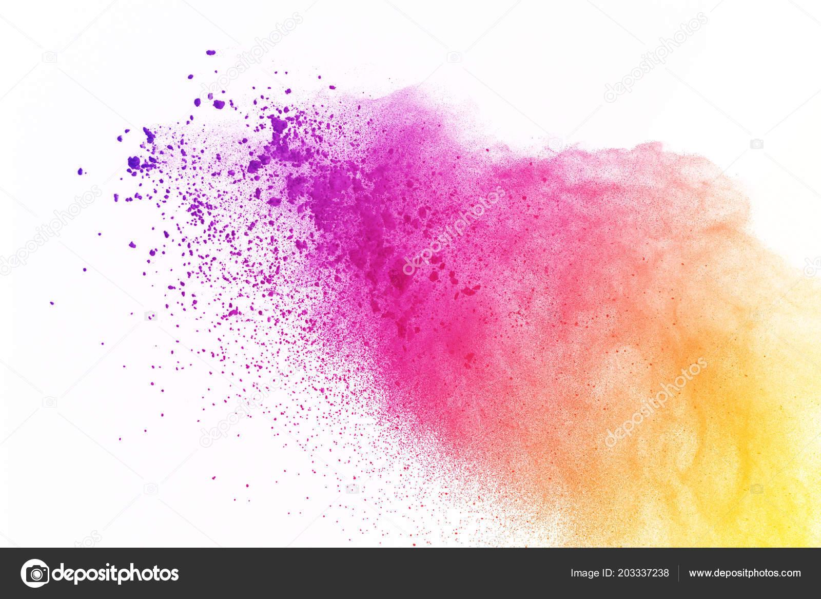 Colorido Explosión Polvo Sobre Fondo Blanco Polvo Color ...