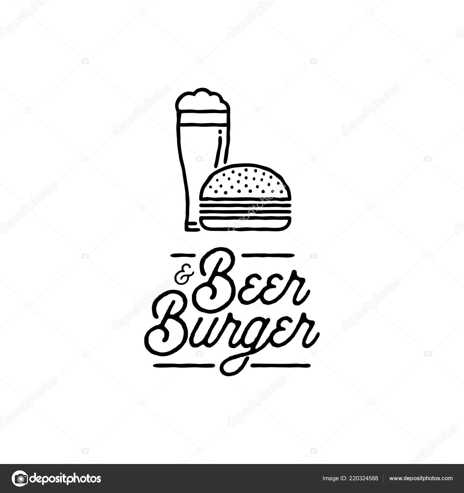 Beer And Burger Outline Black B Vector Illustration Vector Image By C Tunejadez Vector Stock 220324588