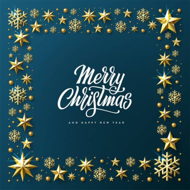 Merry Christmas and Happy New Year. Lettering in a square frame Vector illustration.
