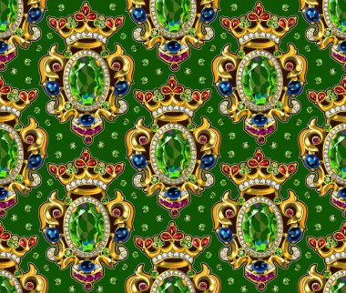 Broche Crown Seamless Pattern Green  Backgrounds Gemstones