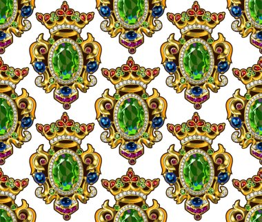 Broche Crown Seamless Pattern White Backgrounds Gemstones