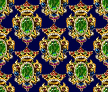 Broche Crown Seamless Pattern Dark Backgrounds Gemstones
