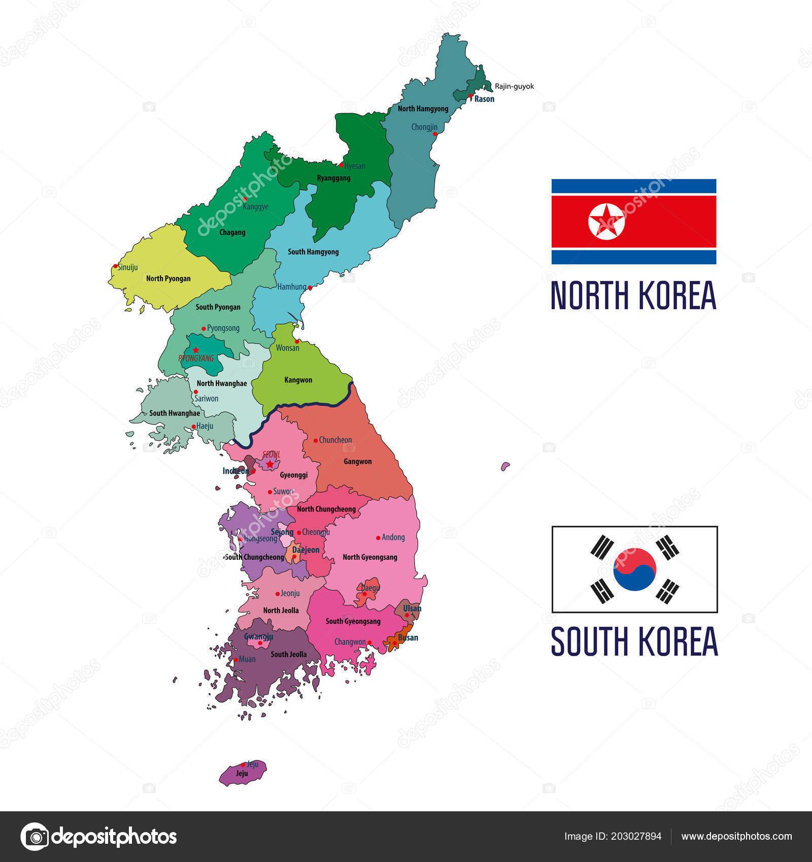 Political Vector Map Korea South Korea North Korea — Stock Vector ...