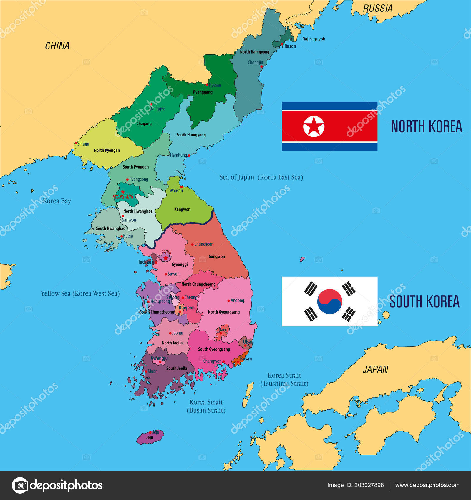 Political Vector Map Korea South Korea North Korea Stock Vector