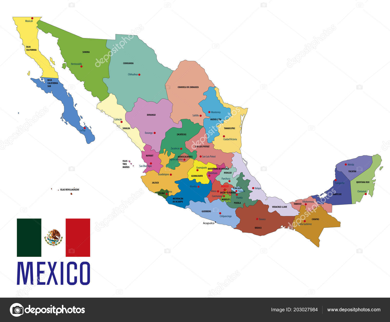 Mexico Map Capitals.Vector Highly Detailed Political Map Mexico Regions Capitals All