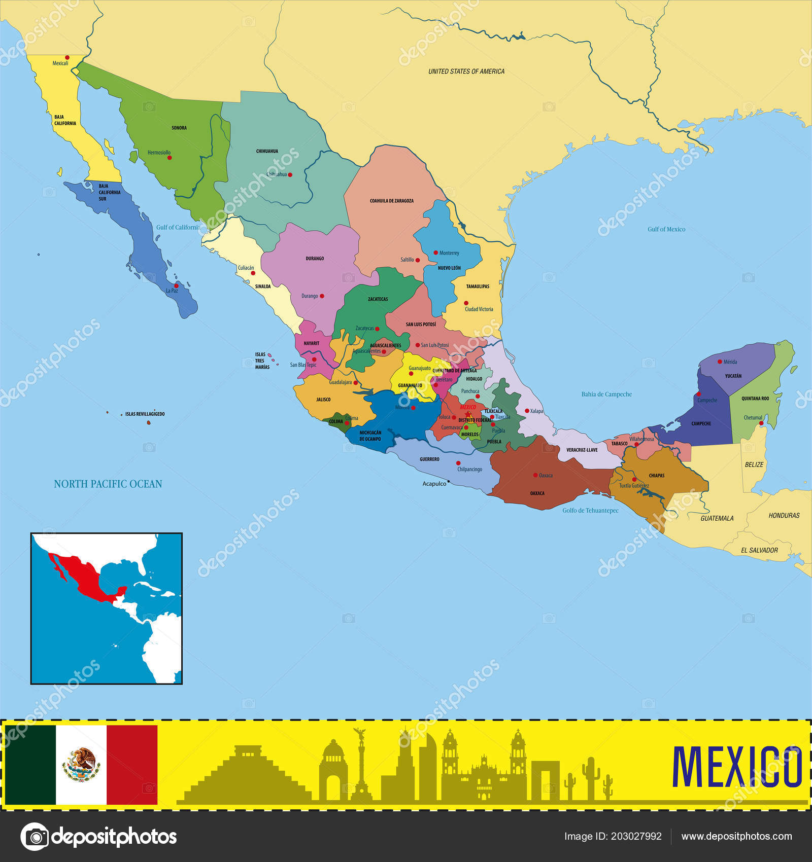 Vector Highly Detailed Political Map Mexico Regions Capitals ...