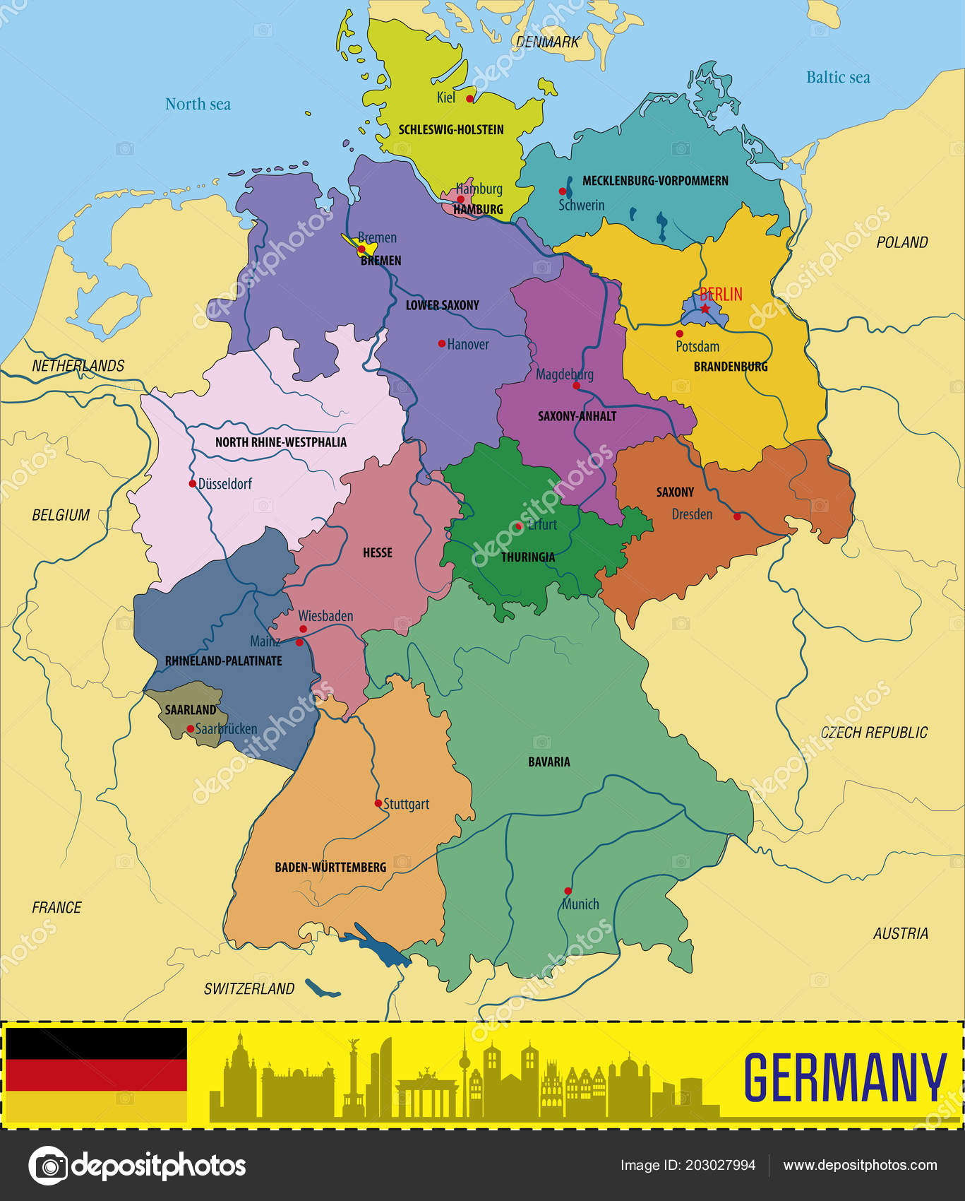 Political Vector Map Germany Regions Capitals All Layers