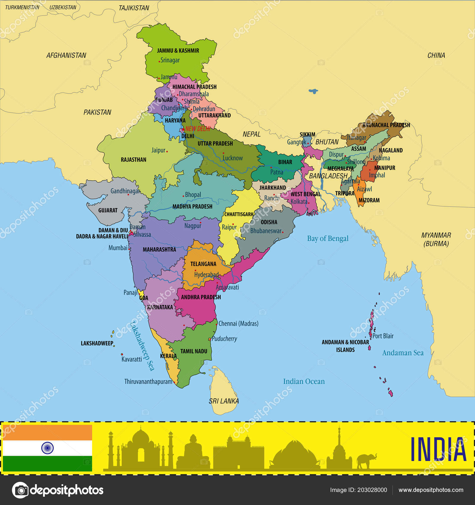 Political Detailed Map India All States Country Boundary — Stock ...