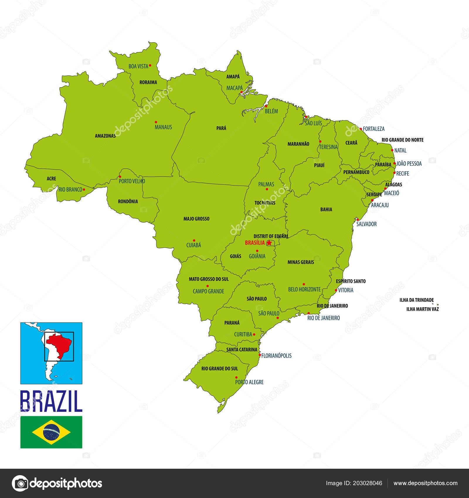 Political Map Brazil Regions Capitals — Stock Vector ...