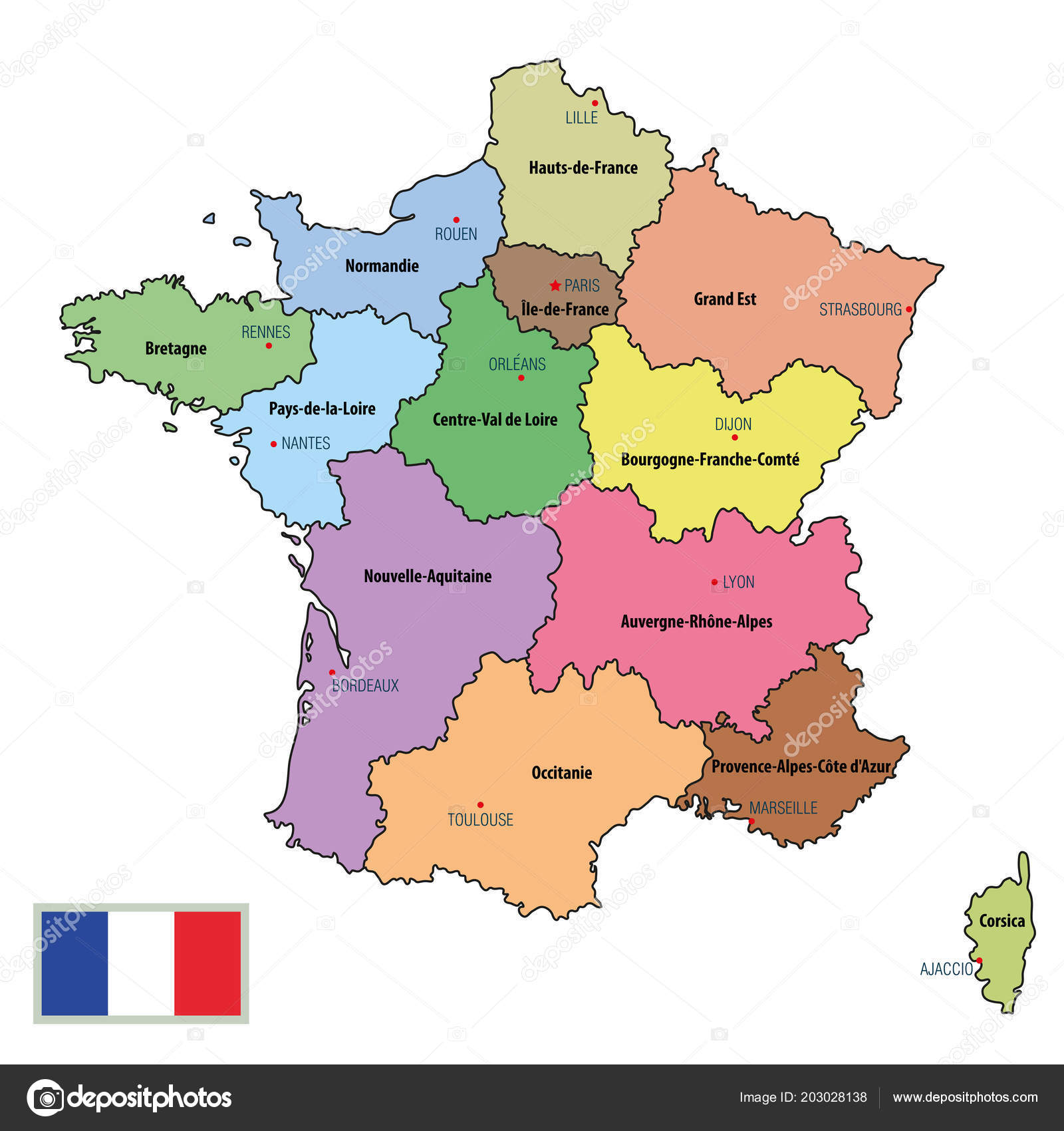 Detailed Map Of France Regions.Vector Highly Detailed Political Map France Regions Capitals All