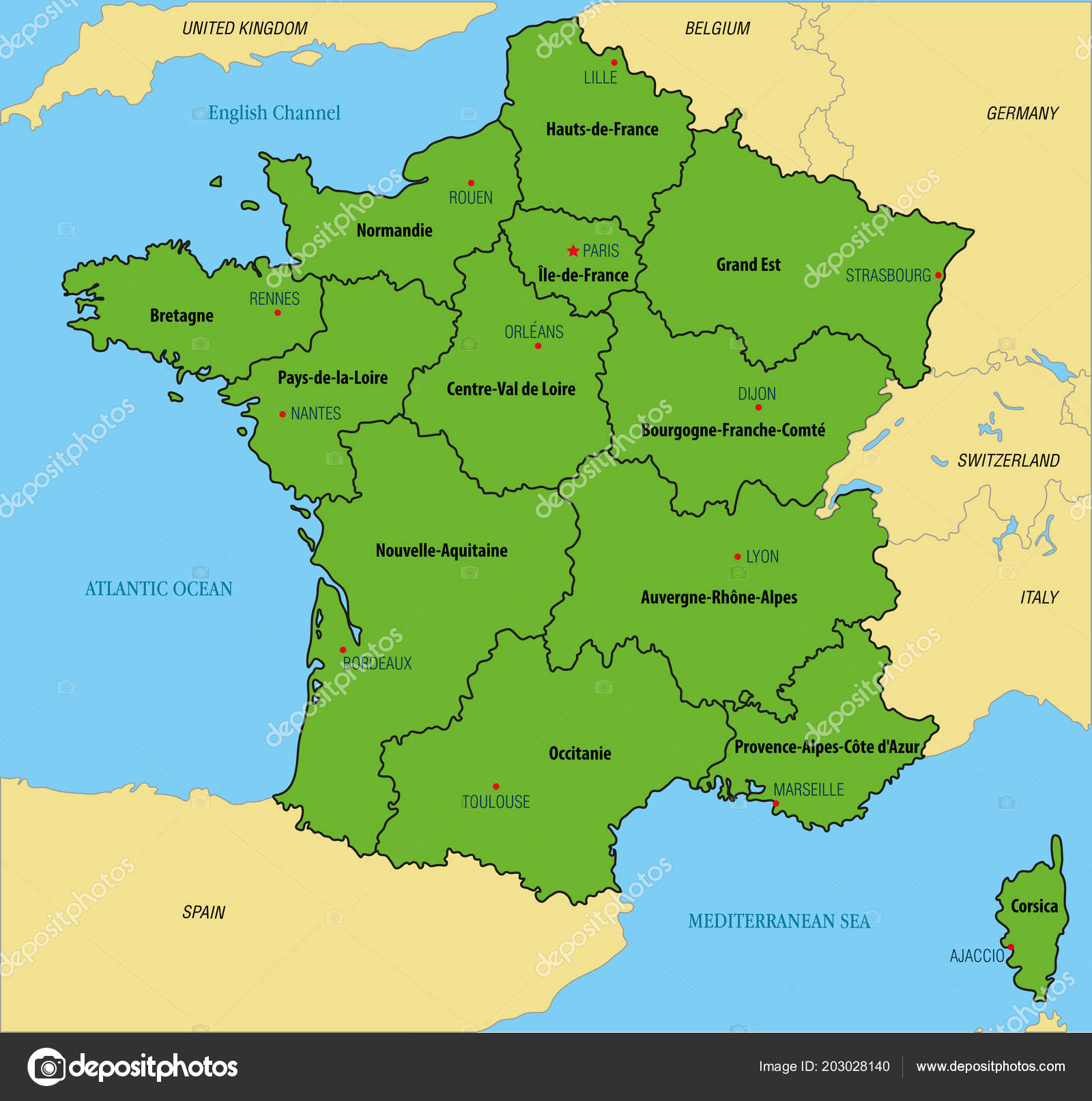 Vector Highly Detailed Political Map France Regions Capitals All