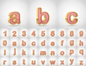 Pink with gold alphabet letters lowercase. 3D render of pink font with golden outline isolated on white background.