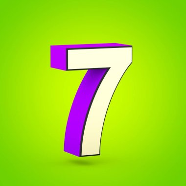 Superhero number 7. 3D render of stylized retro violet and beige font isolated on lime background.