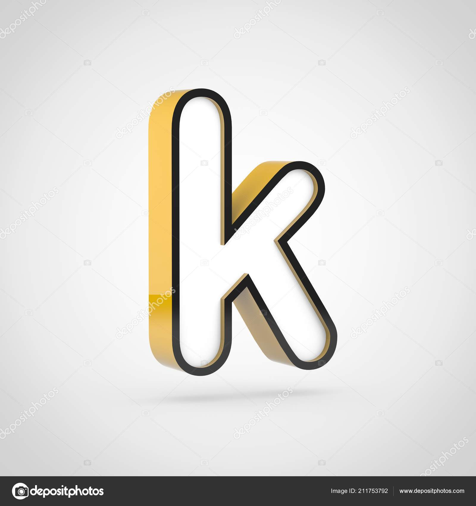 Golden Letter Lowercase White Face Black Outline Render Font