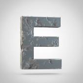 Cracked metal letter E uppercase on white background
