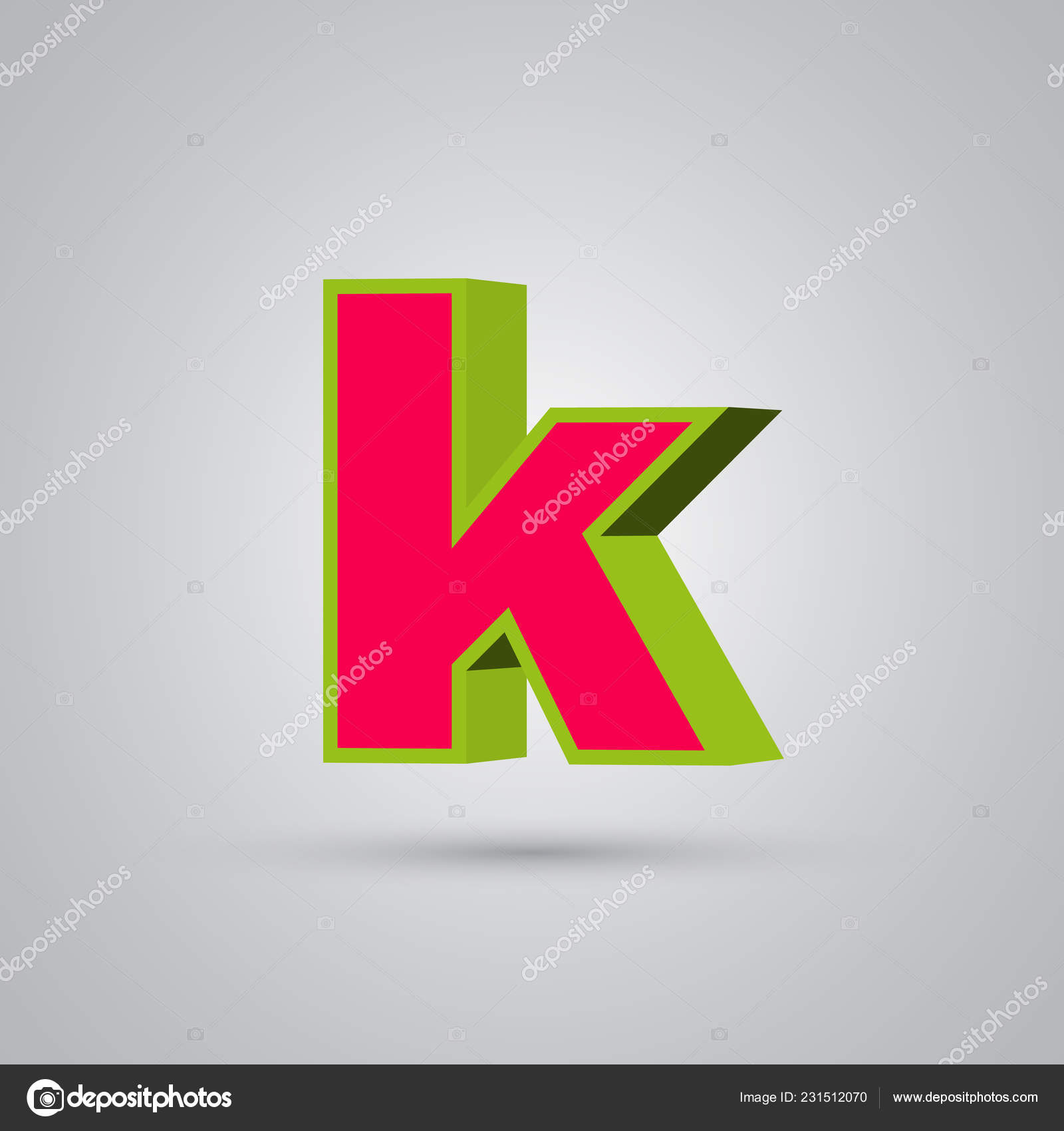 Watermelon Vector Letter Lowercase Red Font Glossy Green