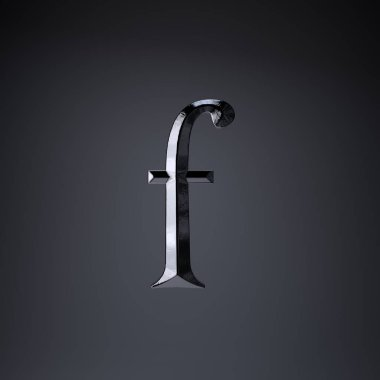 Chiseled iron letter F lowercase. 3d render game or movie title font isolated on black background.