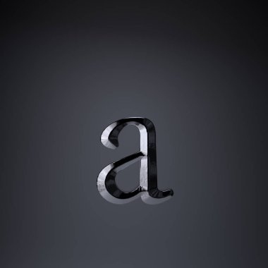 Chiseled iron letter A lowercase. 3d render game or movie title font isolated on black background.