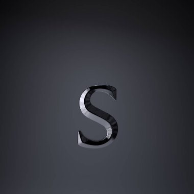 Chiseled iron letter S lowercase. 3d render game or movie title font isolated on black background.