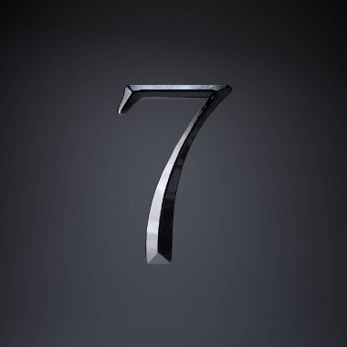 Chiseled iron number 7. 3d render game or movie title font isolated on black background.