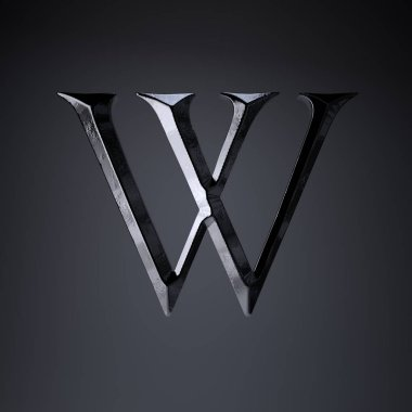 Chiseled iron letter W uppercase. 3d render game or movie title font isolated on black background.