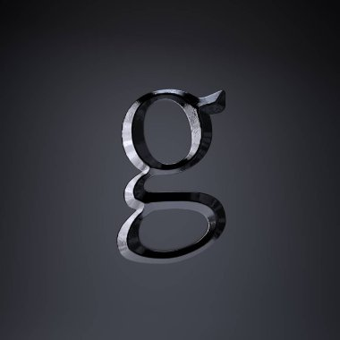 Chiseled iron letter G lowercase. 3d render game or movie title font isolated on black background.