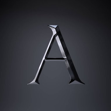 Chiseled iron letter A uppercase. 3d render game or movie title font isolated on black background.