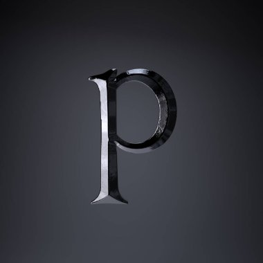 Chiseled iron letter P lowercase. 3d render game or movie title font isolated on black background.