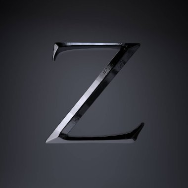 Chiseled iron letter Z uppercase. 3d render game or movie title font isolated on black background.