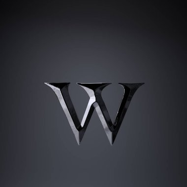 Chiseled iron letter W lowercase. 3d render game or movie title font isolated on black background.